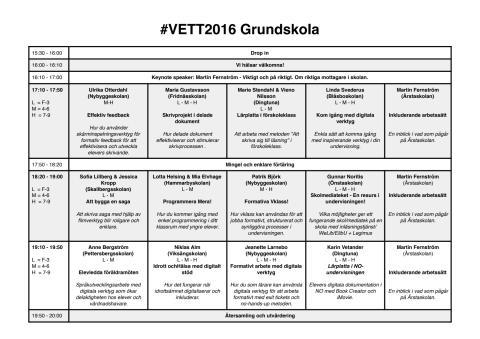 VETT2016 Grundskola, schema