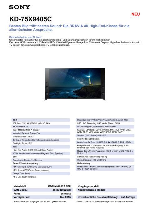 Datenblatt KD-75X9405C von Sony