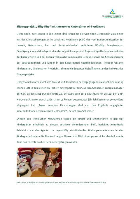 """Bildungsprojekt """"Fifty-Fifty"""" in Lichtensteins Kindergärten wird verlängert"""