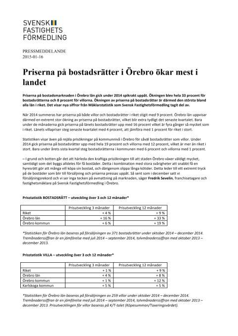 Priserna på bostadsrätter i Örebro ökar mest i landet