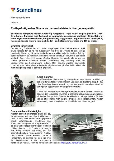 Rødby–Puttgarden 50 år – en danmarkshistorie i færgeperspektiv