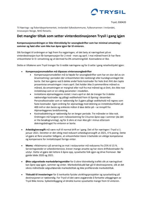 Brev til Stortinget:  Kompensasjonsordningen må tilpasses vintersesongbedrifter i reiselivet