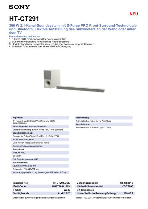 Datenblatt HT-CT291 von Sony