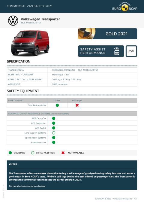 Euro NCAP Commercial Van Testing - Volkswagen Transporter datasheet