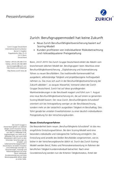 Zurich: Berufsgruppenmodell hat keine Zukunft