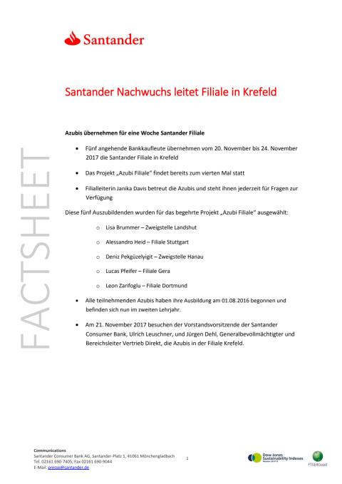 Santander Nachwuchs leitet Filiale in Krefeld