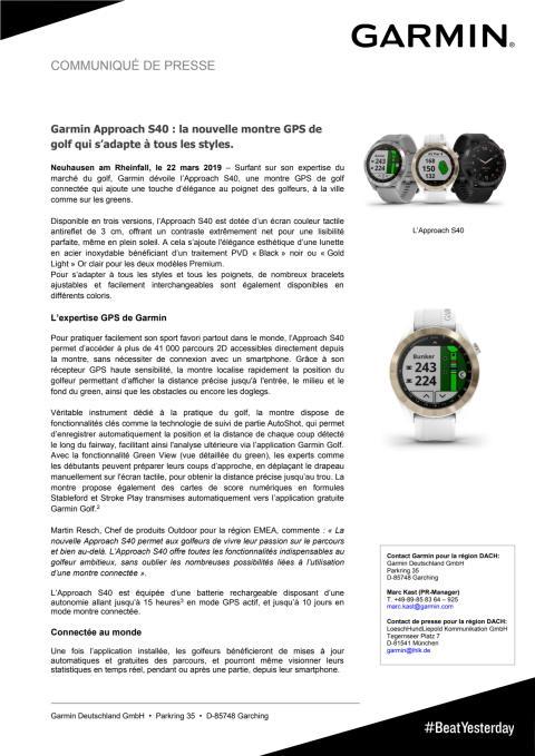 Garmin Approach S40 : la nouvelle montre GPS de golf qui s'adapte à tous les styles.