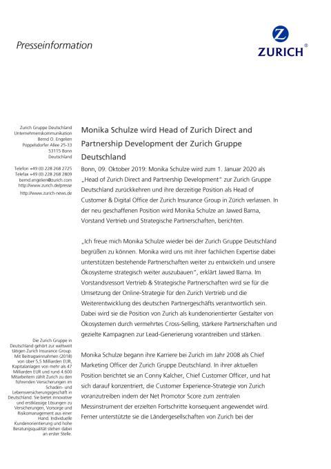 Monika Schulze wird Head of Zurich Direct and Partnership Development der Zurich Gruppe Deutschland