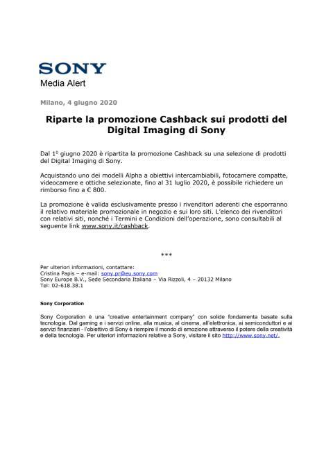 Riparte la promozione Cashback sui prodotti del Digital Imaging di Sony