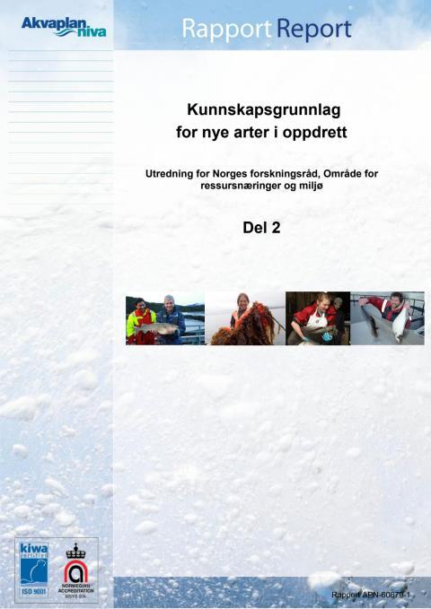 Del II Rapport nye oppdrettsarter