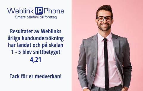 Resultatet av Weblinks årliga kundundersökning har landat och på skalan 1-5 blev snittbetyget 4,21!