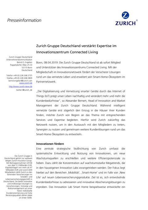 Zurich verstärkt Expertise im Innovationszentrum Connected Living