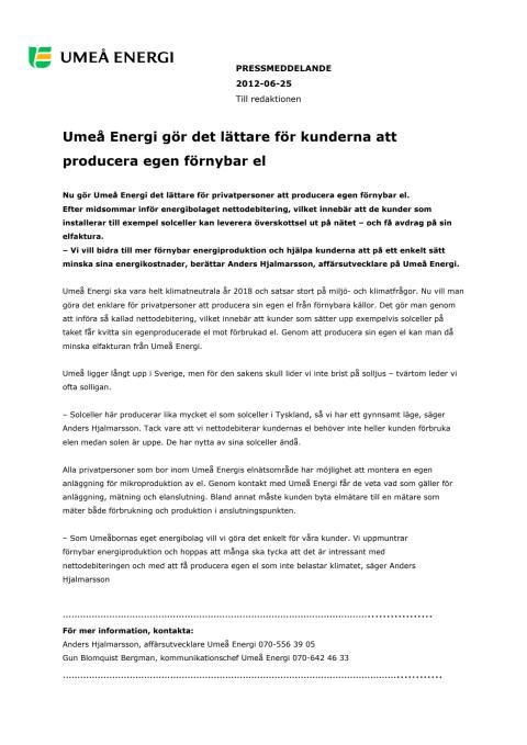Umeå Energi gör det lättare för kunderna att producera egen förnybar el