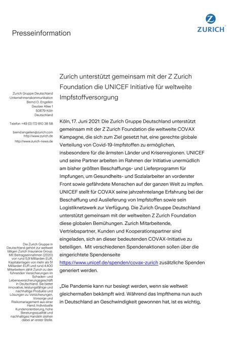 Zurich unterstützt gemeinsam mit der Z Zurich Foundation die UNICEF Initiative für weltweite Impfstoffversorgung
