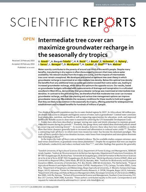 Rätt antal träd avgör vattentillgång