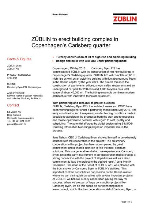 ZÜBLIN to erect building complex in Copenhagen's Carlsberg quarter