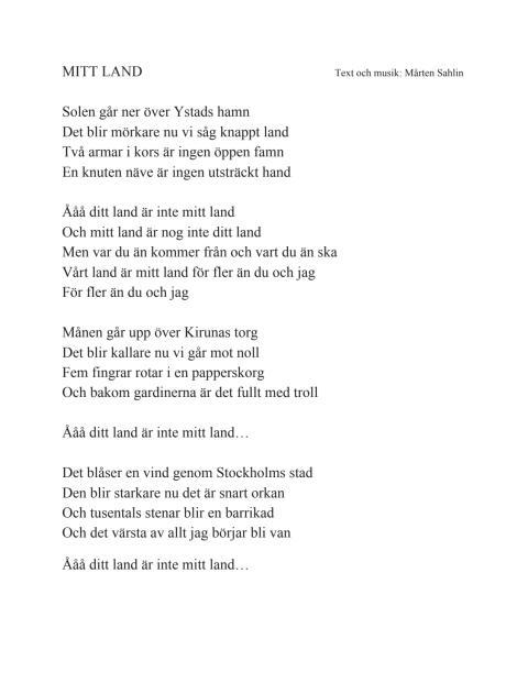 """Mårten Sahlin """"Mitt land"""" - låttext"""