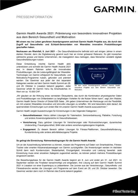 PM Garmin Health Awards 2021