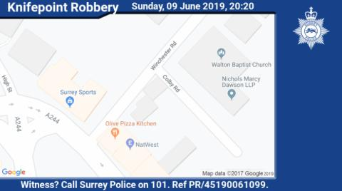 Witness appeal following knifepoint robbery in Walton on Thames