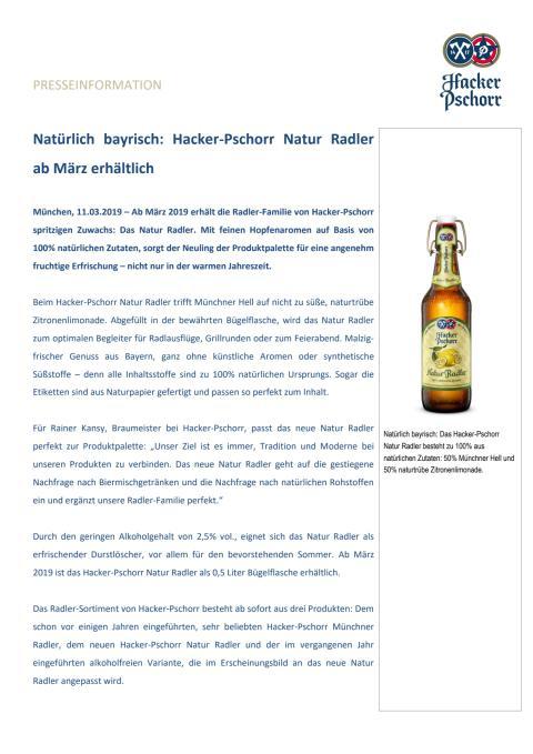 Natürlich bayrisch: Hacker-Pschorr Natur Radler