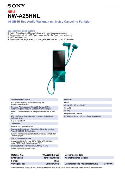 Datenblatt NW-A25HN von Sony_blau