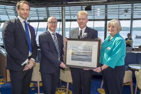 VIPs visit Fred. Olsen's 'Balmoral' in Edinburgh to celebrate inaugural cruise season