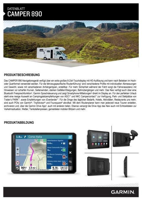 Datenblatt GarminCamper 890 MT-D