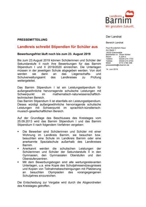Landkreis schreibt Stipendien für Schüler aus