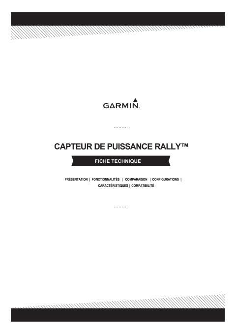 Fiche technique Garmin RALLY RK_RS_XC