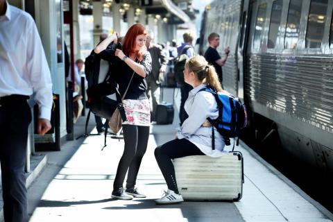 Resenärer på väg att tågluffa