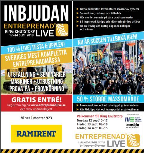 Ramirent deltar på Entreprenad Live 12–14 september i Kågeröd, Skåne