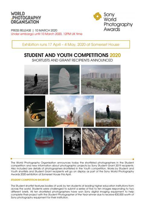 Sony World Photography Awards: Student & Youth Competitions 2020 Announced, Shortlists & Grant Recipients Announced