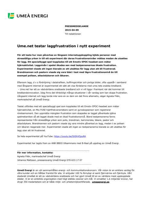 Ume.net testar laggfrustration i nytt experiment