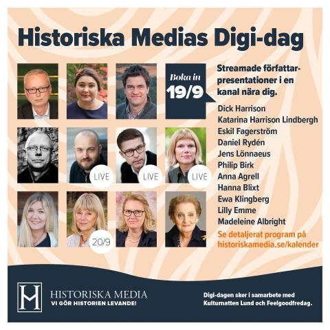 Elva författare medverkar i Historiska Medias digitala författardag — se intervjuer med bland andra Dick Harrison, Madeleine Albright, Ewa Klingberg och Hanna Blixt