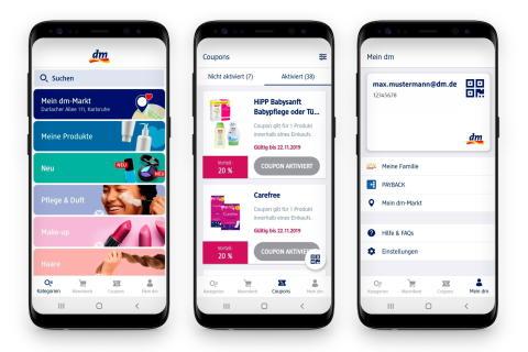 """Neues Einkaufserlebnis fürs Smartphone: Die """"Mein dm-App"""" erleichtert einkaufen."""