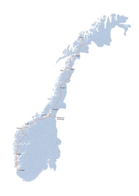 Strekninger for Enovas ladeinfrastruktur-konkurranse runde 2 (PDF)