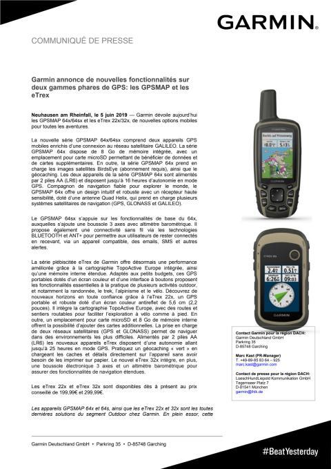 Garmin annonce de nouvelles fonctionnalités sur deux gammes phares de GPS: les GPSMAP et les eTrex