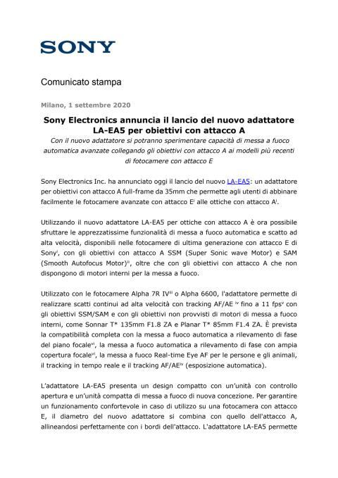 Sony Electronics annuncia il lancio del nuovo adattatore LA-EA5 per obiettivi con attacco A