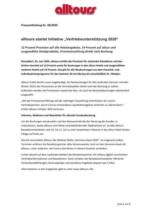 """alltours startet Initiative """"Vertriebsunterstützung 2020"""""""