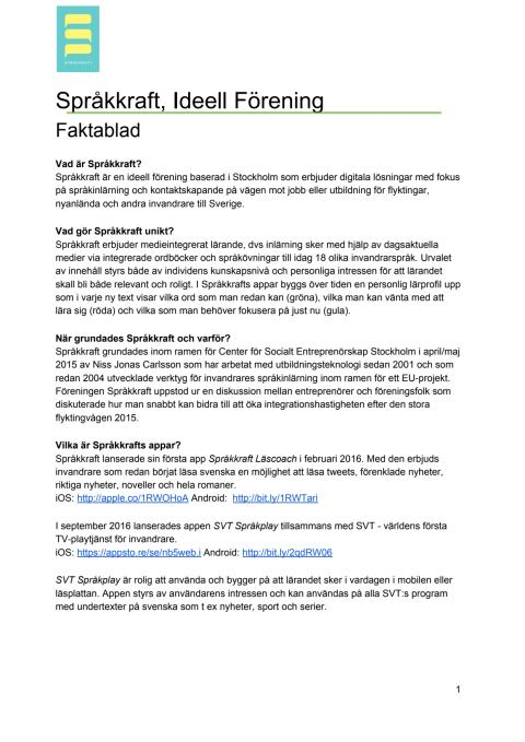 Språkkrafts Faktablad