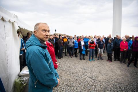 Konsernsjef i Statkraft Christian Rynning-Tønnesen under åpningen av Roan vindpark