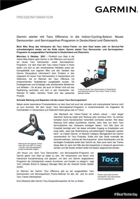 PM Garmin Tacx Democenter und Servicepartner Programm