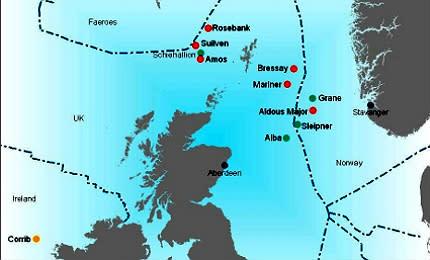 Kart over nordlige Nordsjøen som angir blant annet Mariner-feltet.