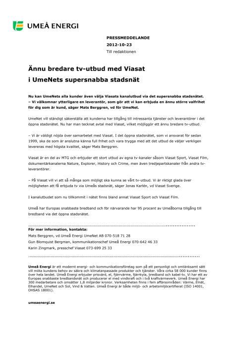 Ännu bredare tv-utbud med Viasat i UmeNets supersnabba stadsnät