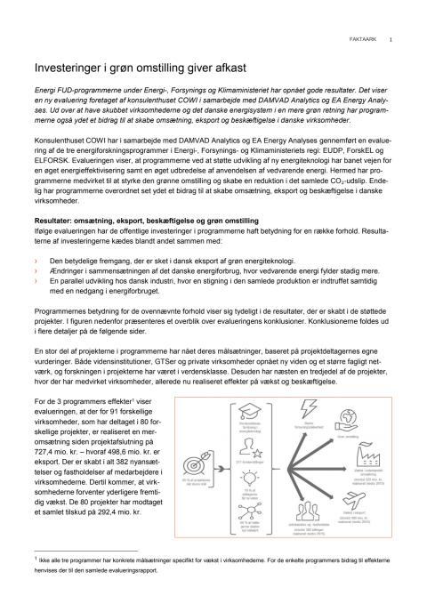 Faktaark om evalueringen af energiforskningsprogrammerne
