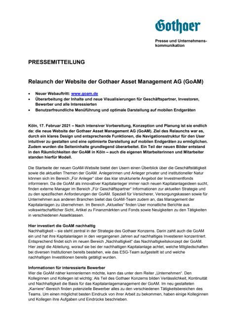Relaunch der Website der Gothaer Asset Management AG (GoAM)