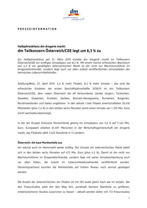 Halbjahresbilanz dm drogerie markt: dm Teilkonzern Österreich/CEE legt um 8,3 % zu