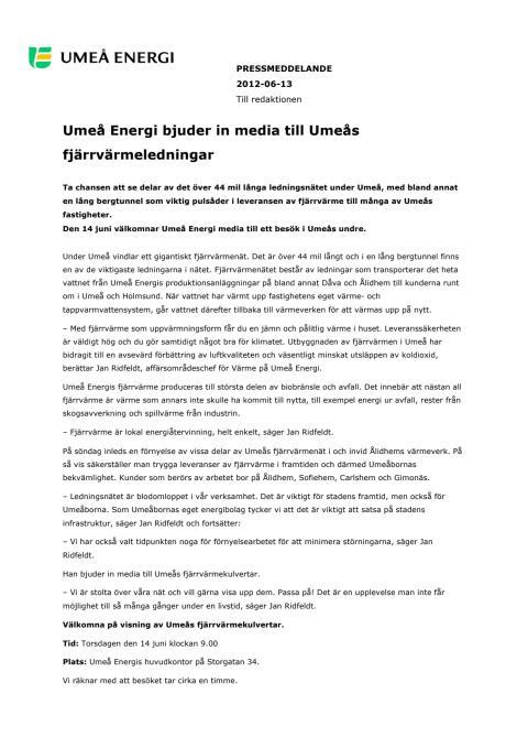 Umeå Energi bjuder in media till Umeås fjärrvärmeledningar