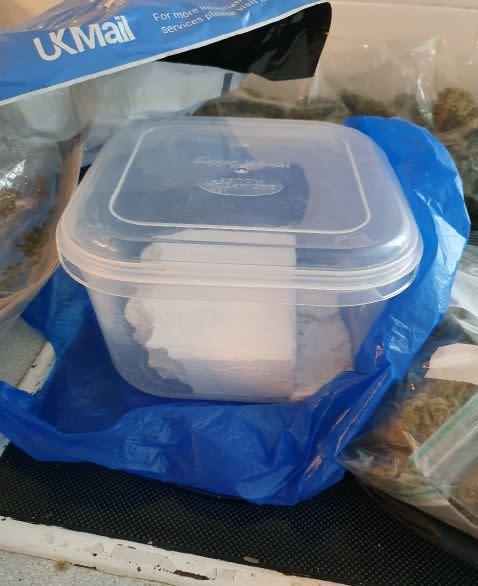 Cocaine found in his kitchen