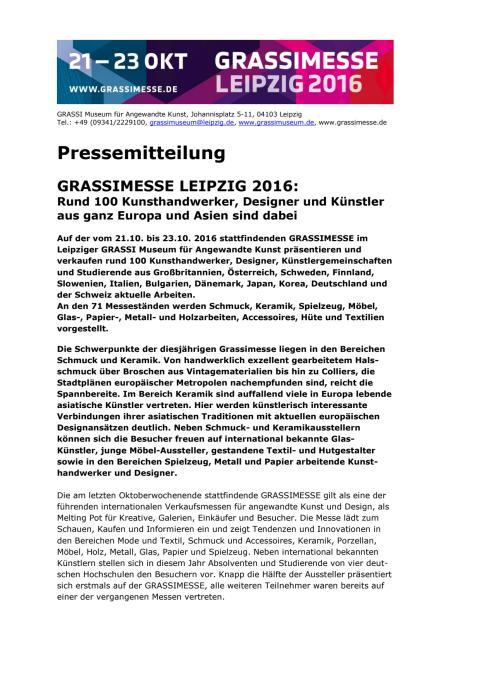 Pressemitteilung zur Grassimesse 2016